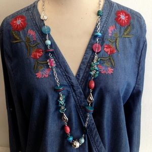 Embroidered Boho Hippie Denim Crossover Tunic Top